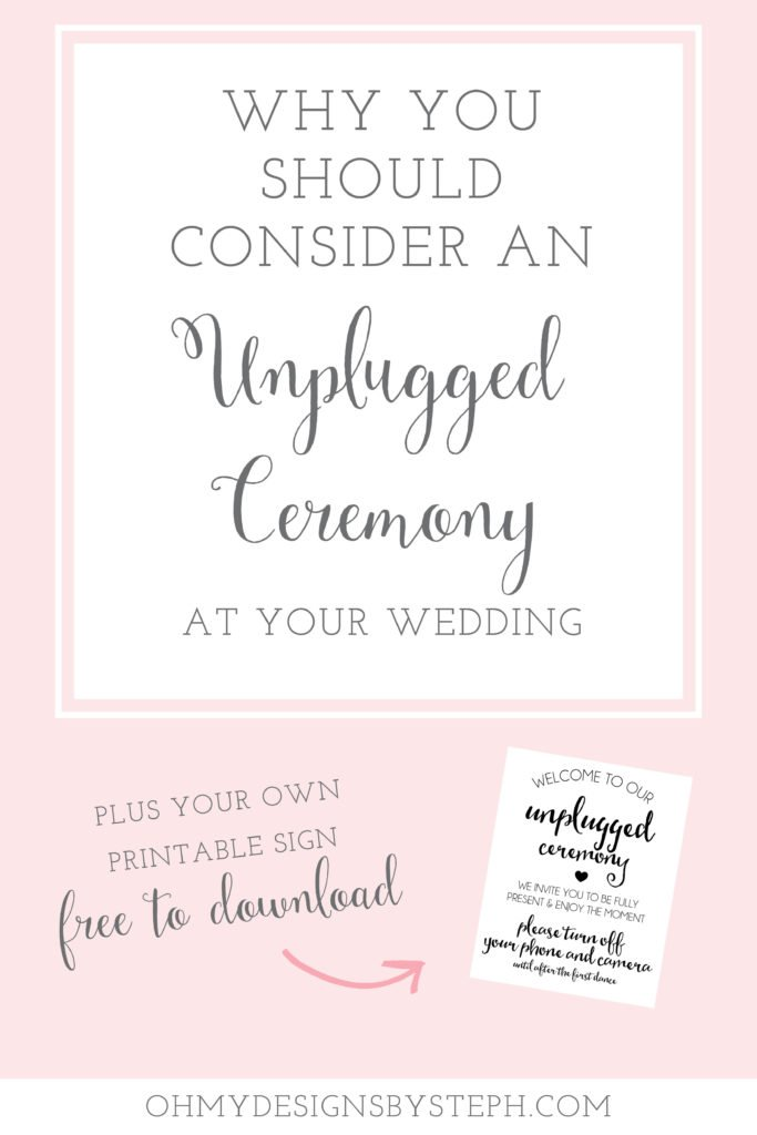 Wedding planning? Consider having an unplugged ceremony! Download the unplugged wedding sign here!