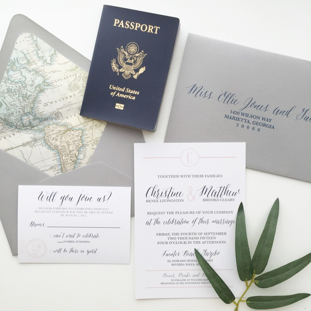 Travel Themed Wedding Invitations, perfect for a destination wedding!