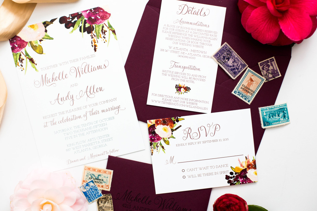 Floral Marsala Wedding Invitations