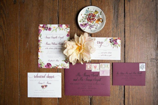 Floral Marsala Wedding Invitation