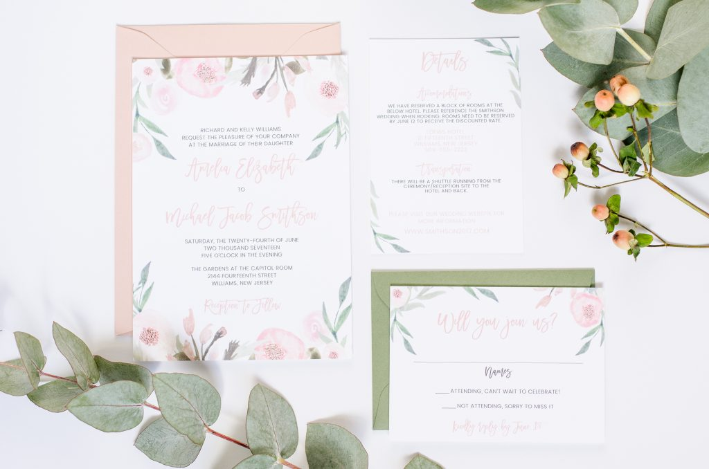 Blush and Greenery Wedding Invitations