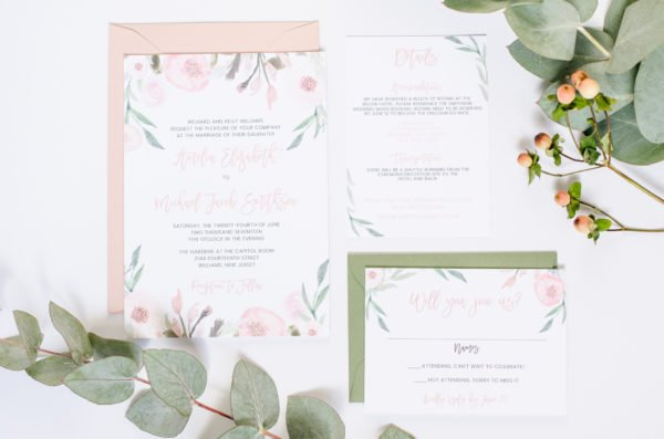Blush and Eucalyptus Wedding Invitations