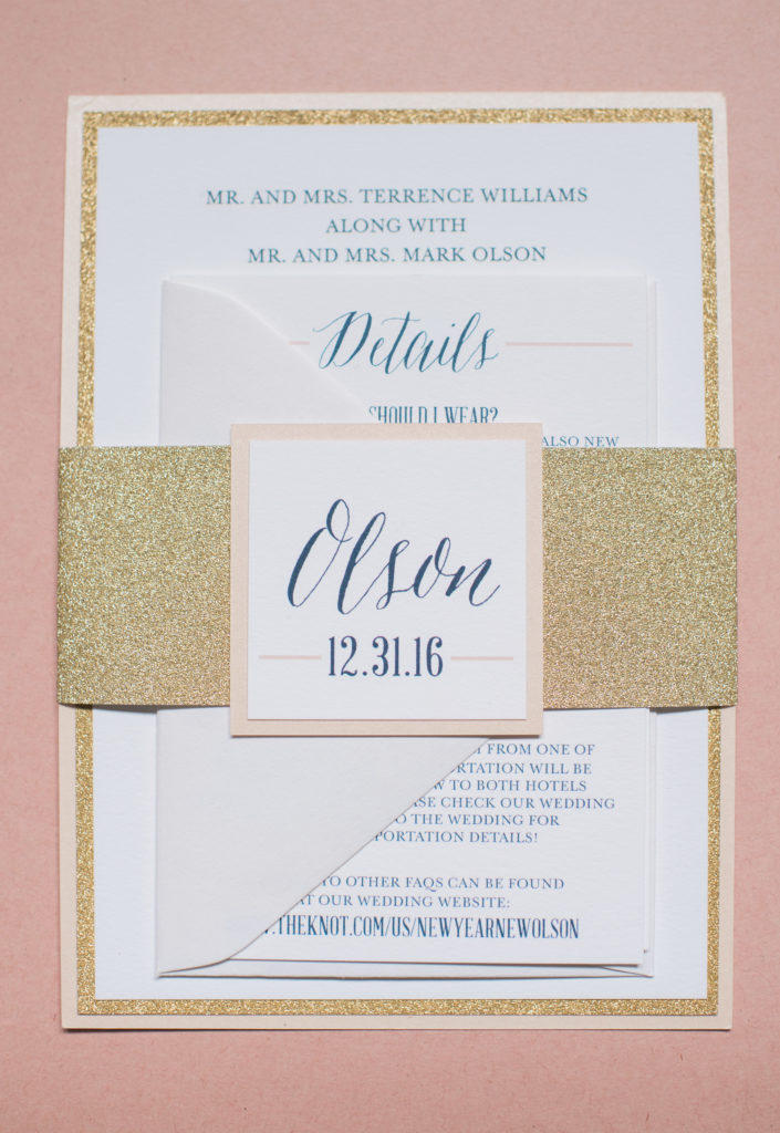 Gold Glitter Wedding Invitations