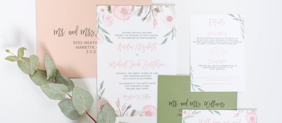 Blush Eucalyptus Wedding Invitations
