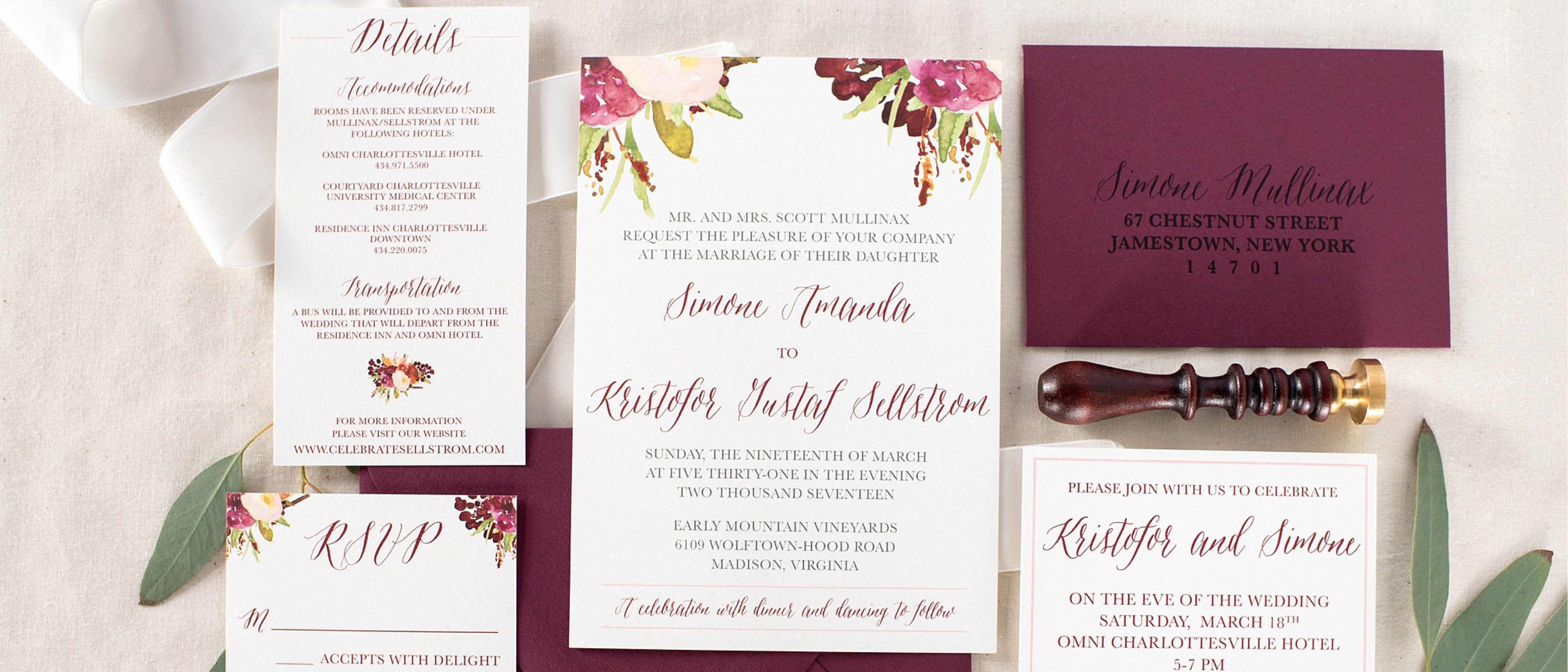 Free Samples Wedding Invitations: Burgundy Floral Marsala Wedding Invitation Sample