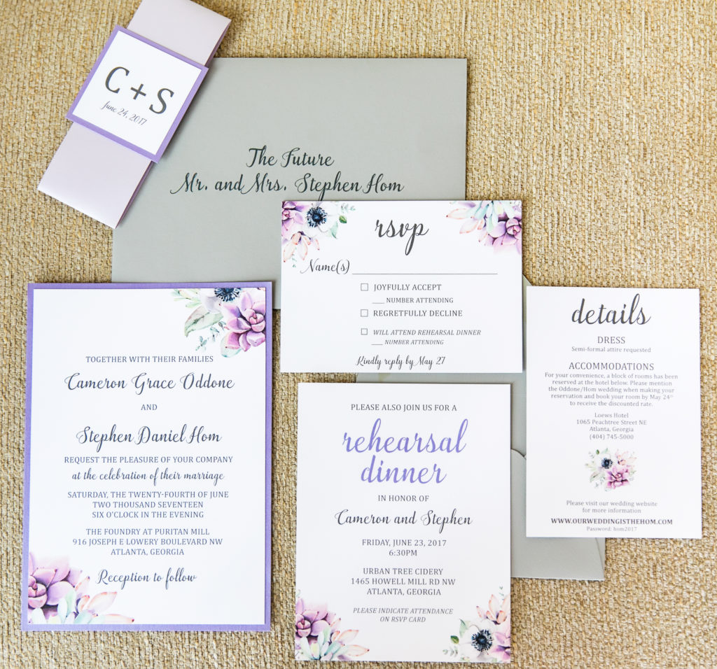 Lavender Floral Wedding Invitations