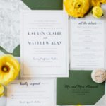Modern Green and Navy Invitations for a St. Patrick's Day Wedding