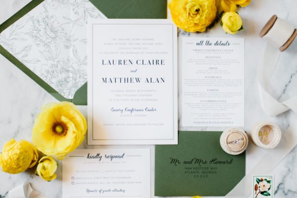 Green and Navy Wedding Invitations
