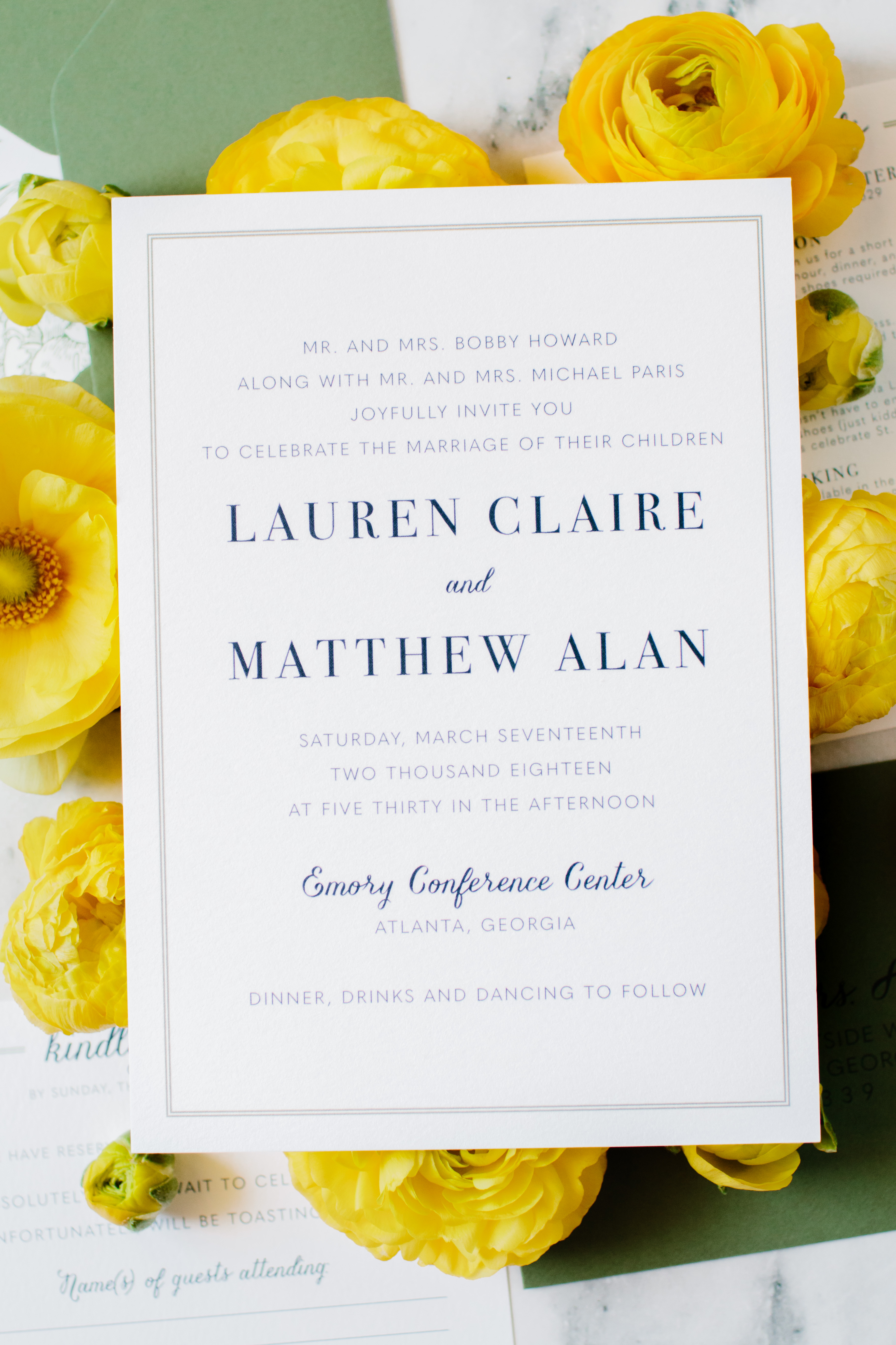 Minimalist Modern Wedding Invitation Sample Green and Navy | oh my ...