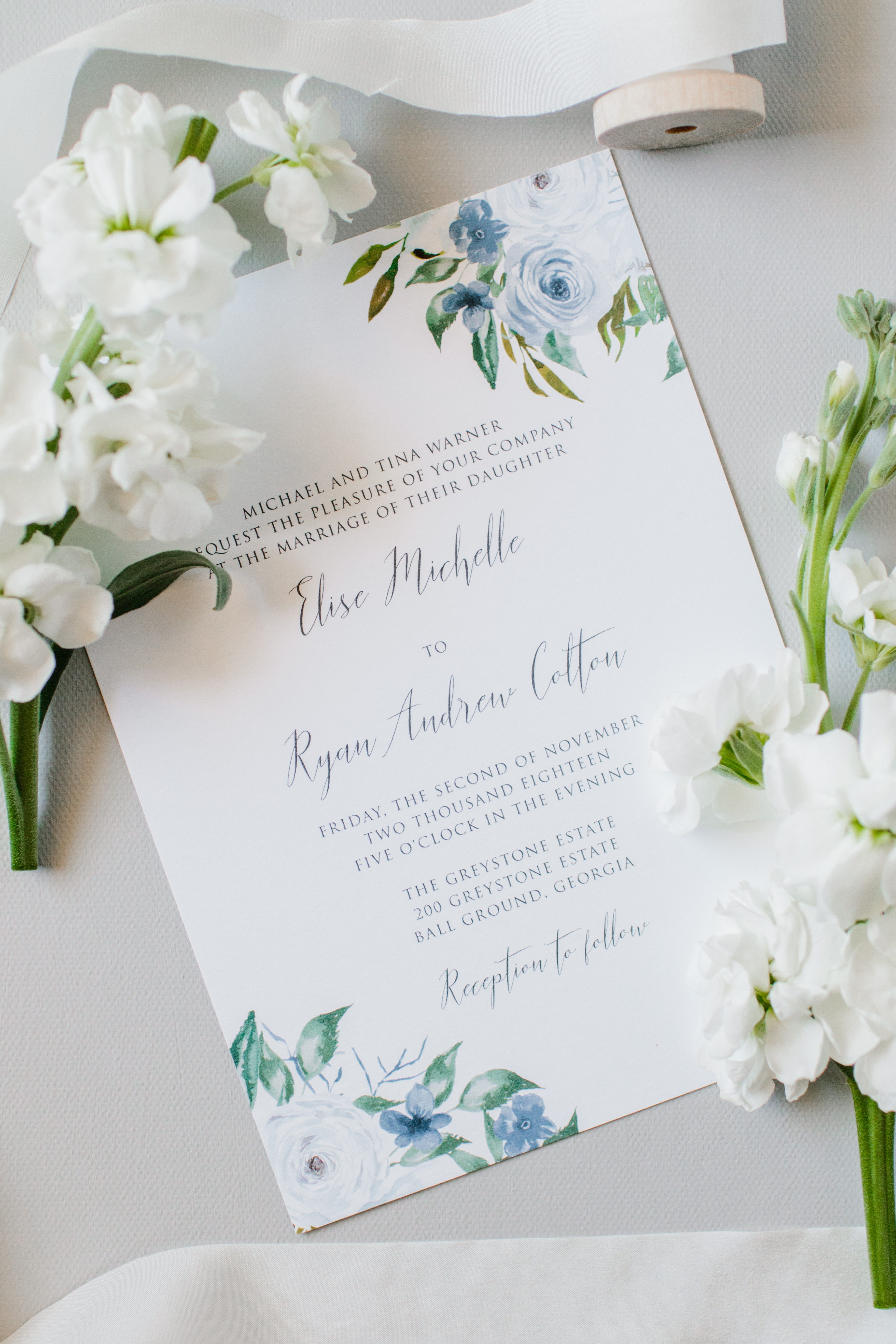 dusty blue floral wedding invitation sample  oh my
