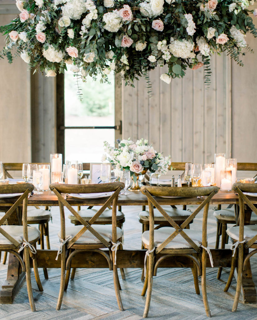 Lush Hanging Floral Installation Wedding Table