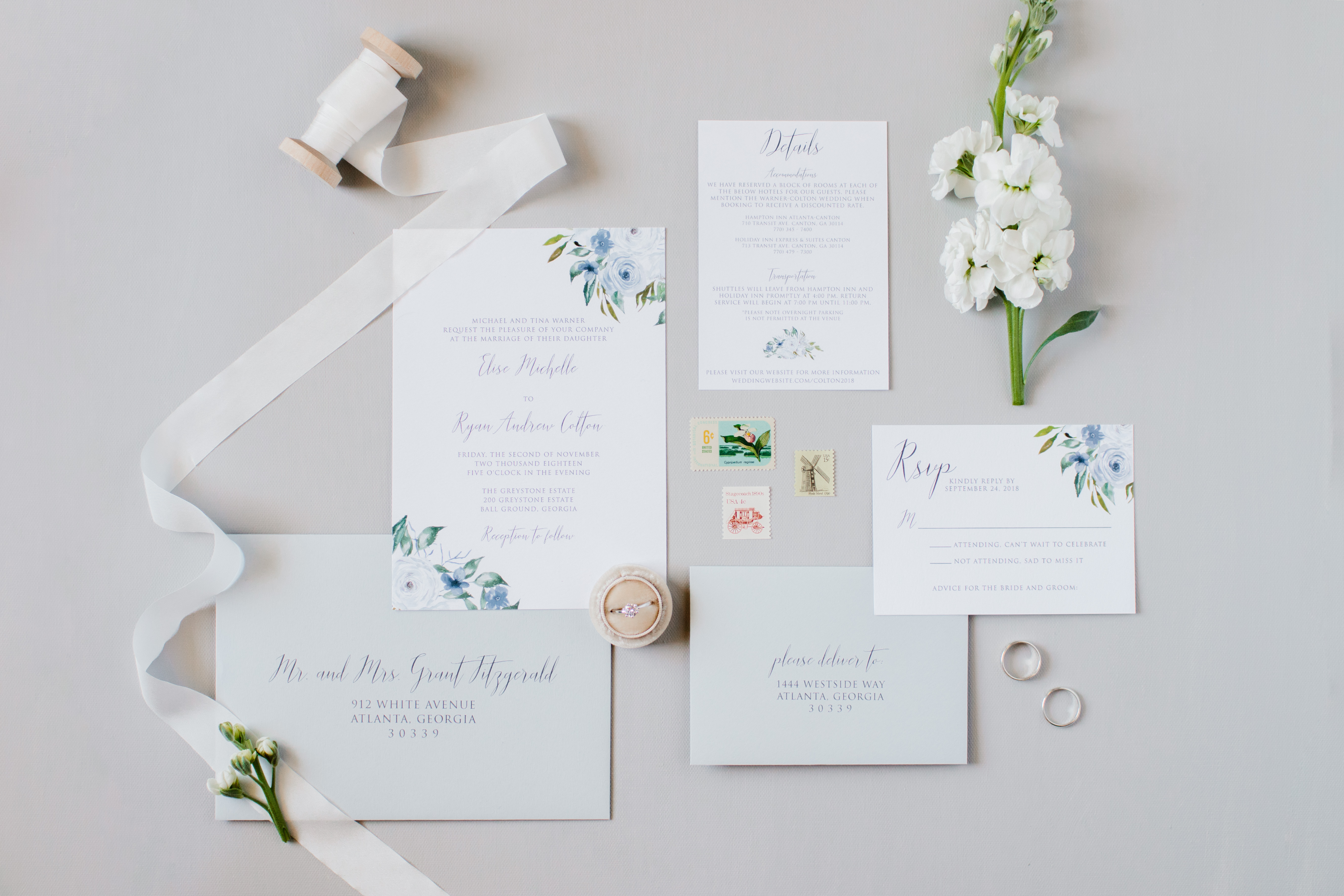 Floral Wedding Invitations.Dusty Blue Floral Wedding Invitation Sample Oh My Designs By Steph