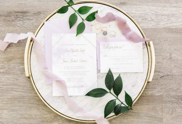 Lavender and Gold Wedding Invitation