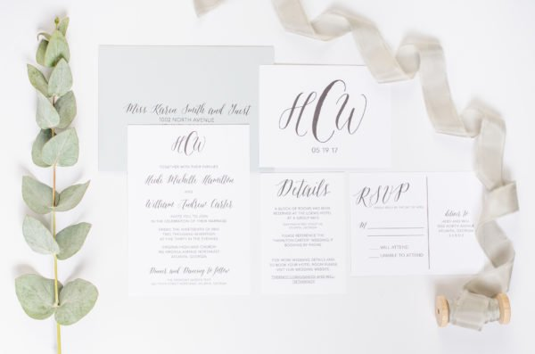 Simple Wedding Invitations with Monogram