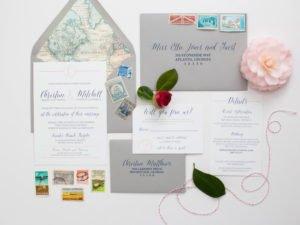 Map Themed Wedding Invitation