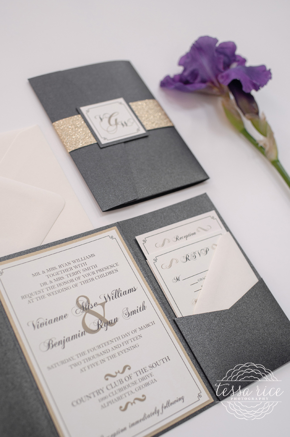 Black and Gold Invitation Pocket