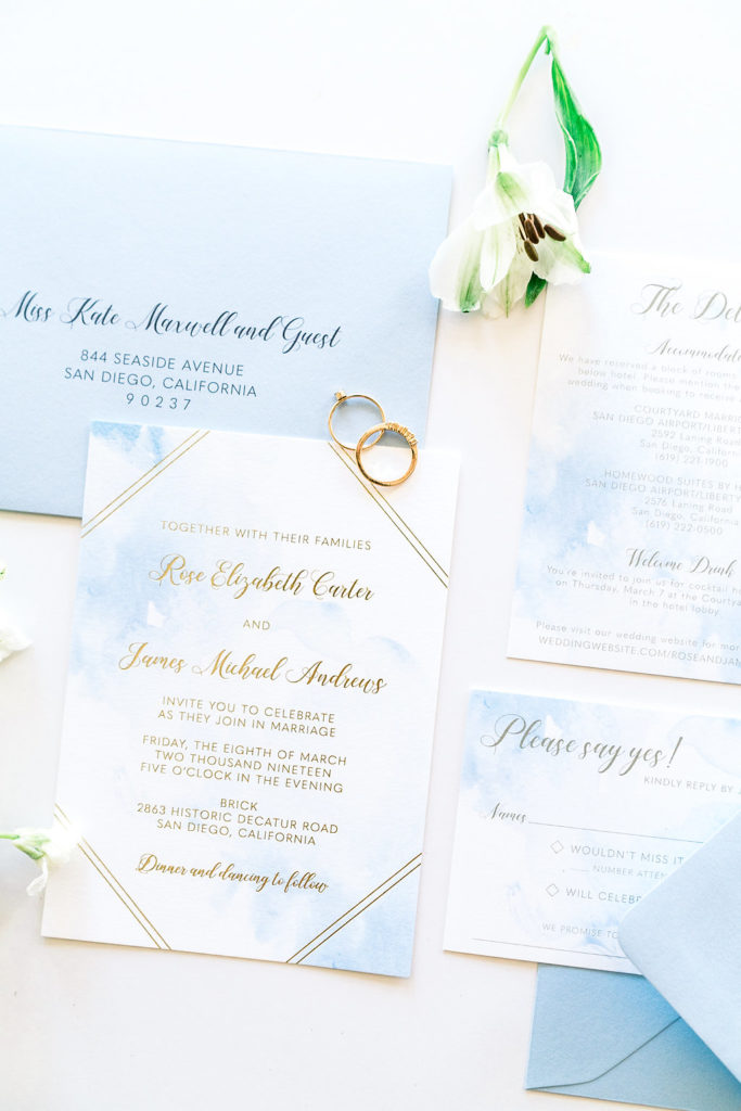 Gold Foil Watercolor Wedding Invitation