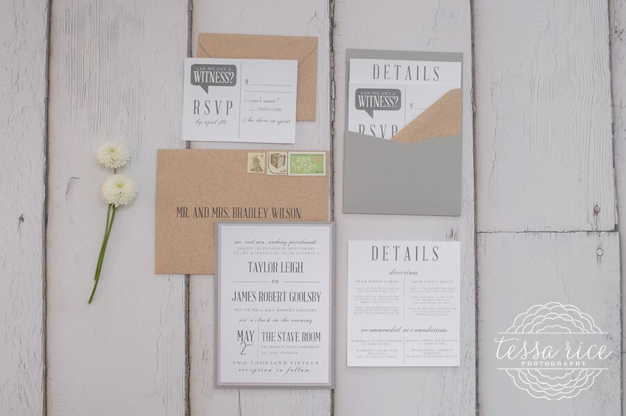 Modern Grey Wedding Invitation