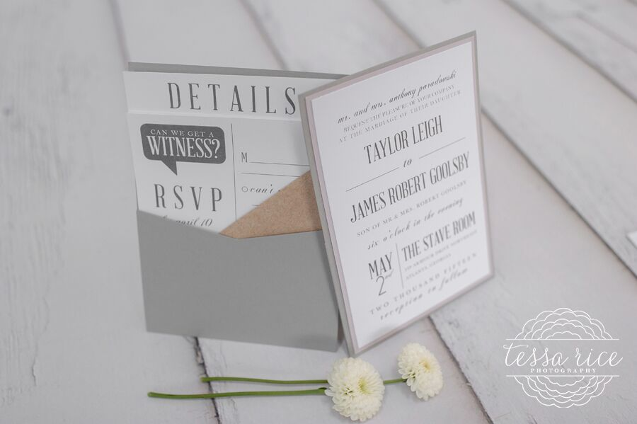 Typography Pocket Wedding Invitation