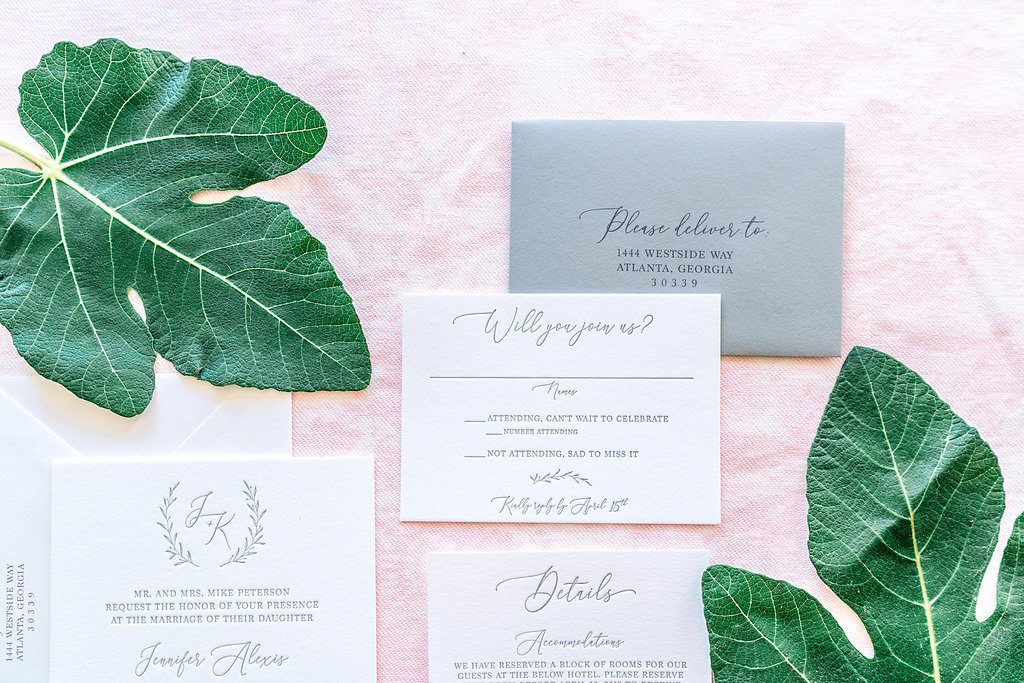 Minimalist Monogram Wedding Invitation