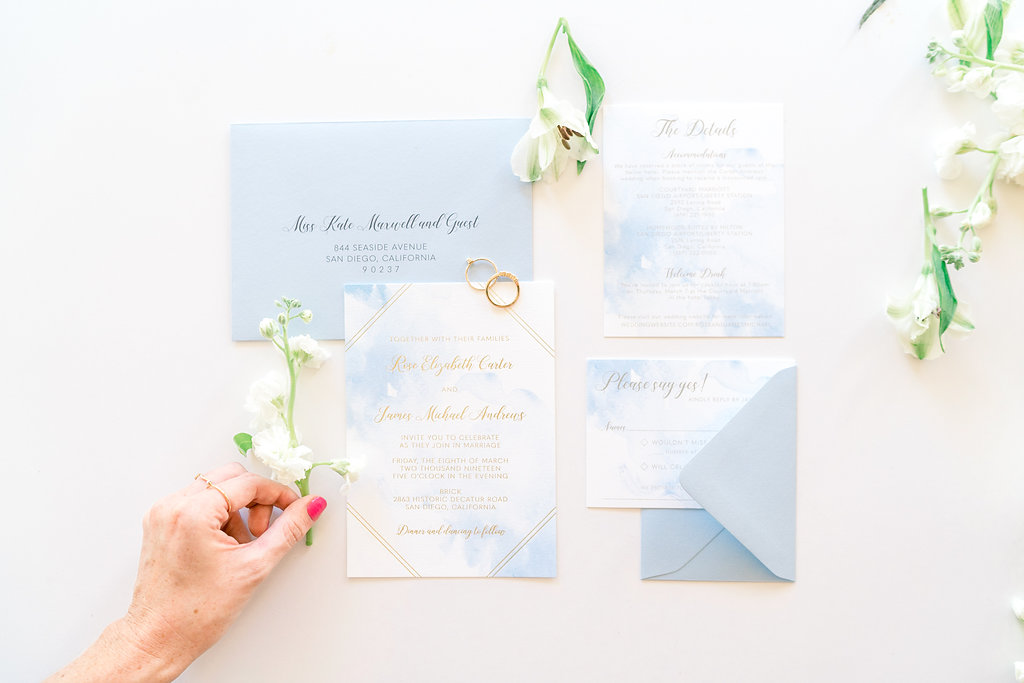 Watercolor and Foil Wedding Invitations
