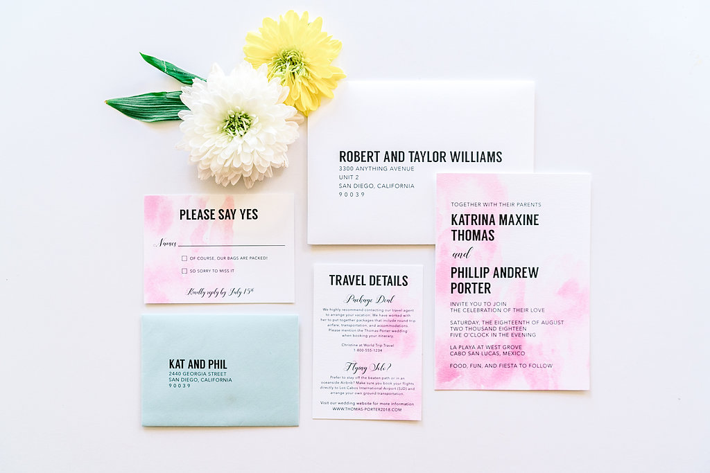 Modern Watercolor Wedding Invitations