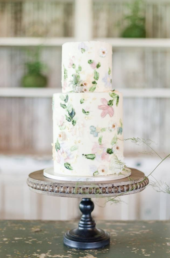 Custom Floral Wedding Cake