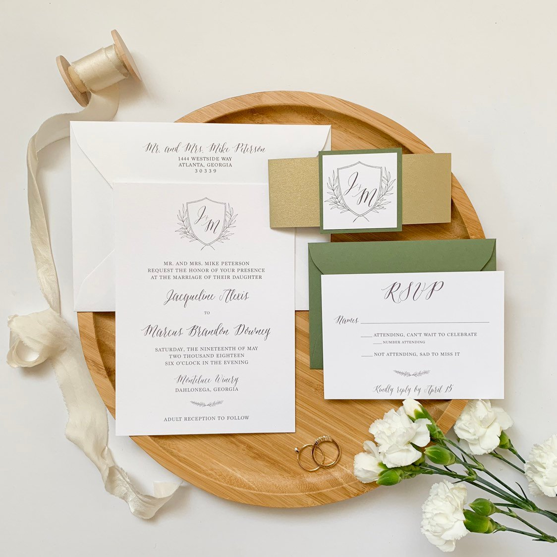 Monogram Wedding Invitation with Belly Band
