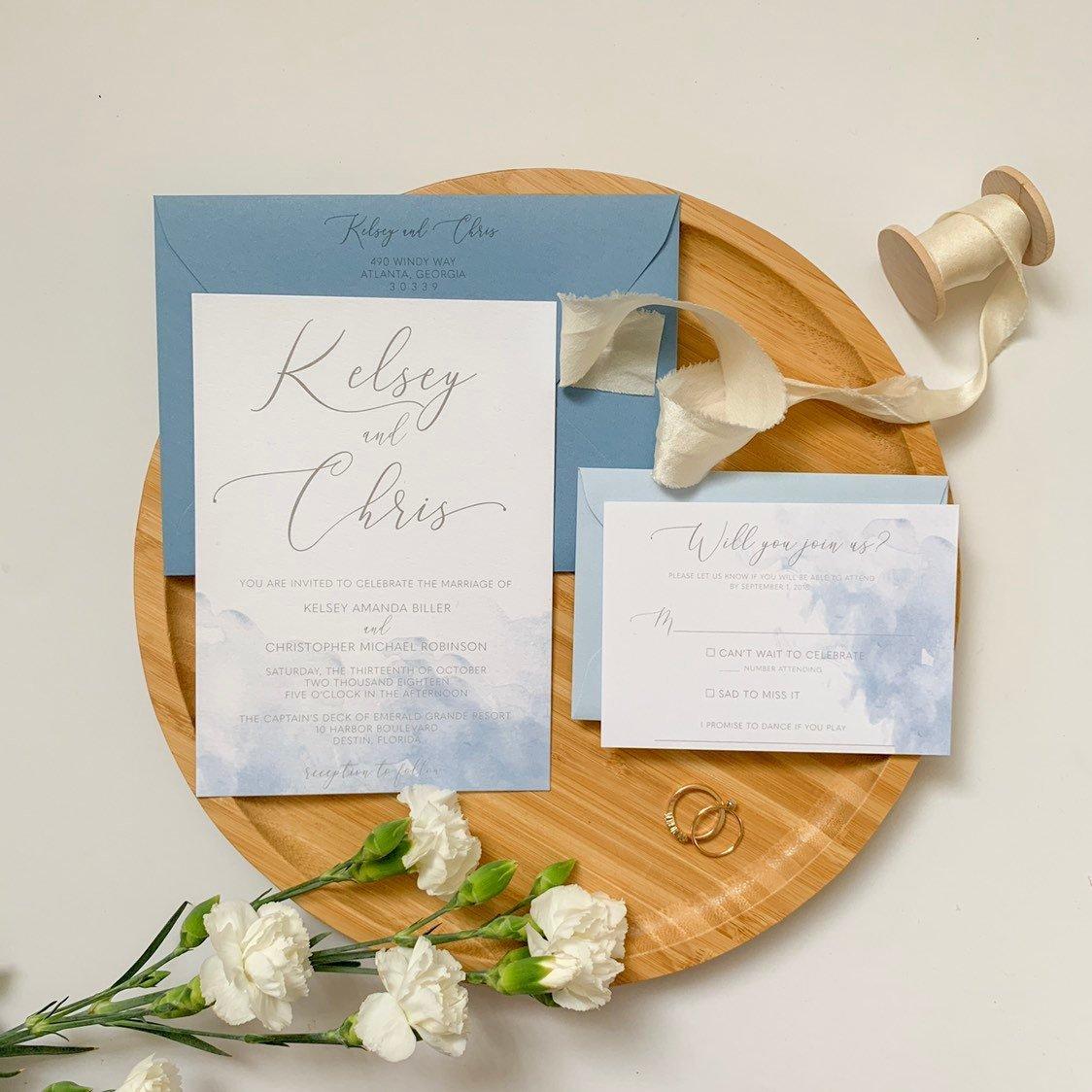 Wedding Invitations For Destination Wedding: Watercolor Destination Wedding Invitations