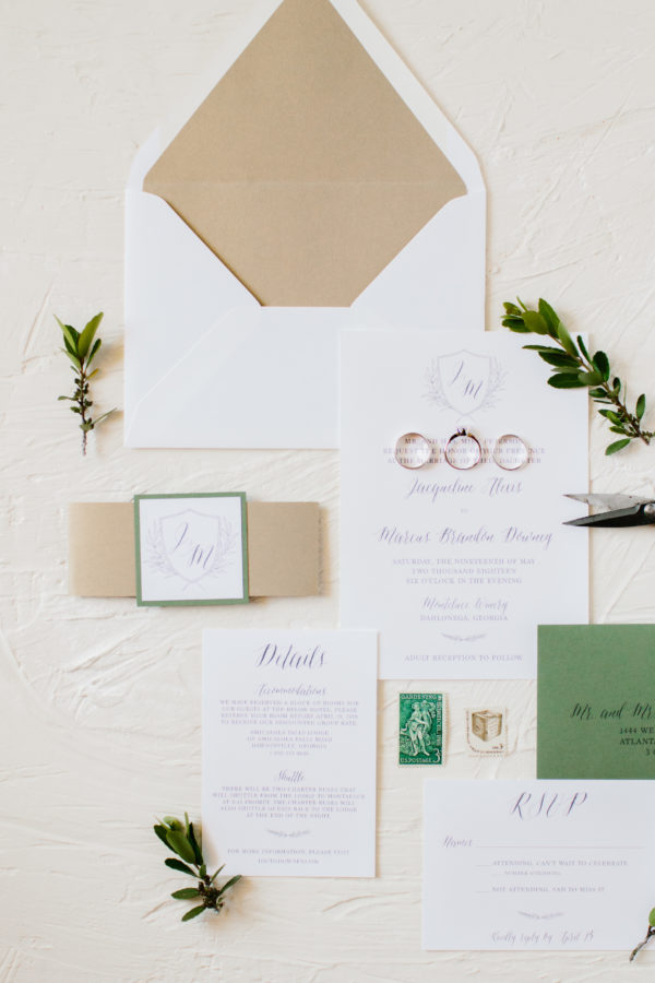 Gold and Green Tuscan Inspired Wedding Invitation