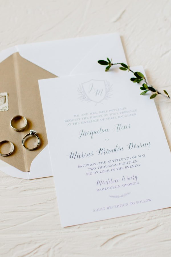 Simple Monogram Wedding Invitation