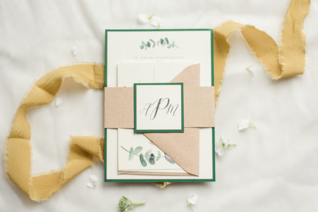 Eucalyptus Monogram Wedding Invitations with kraft belly band