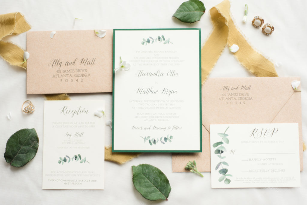 Eucalyptus Wedding Invitations with Straw Kraft Envelopes