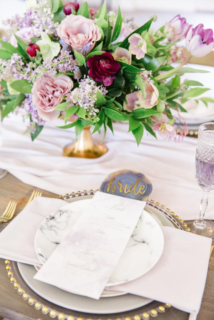 Wedding Day Stationery Lavender Dinner Menu