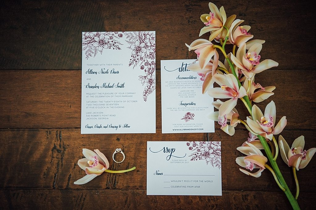 Navy and Burgundy Floral Wedding Invitations San Diego