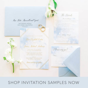 Gold Foil Watercolor Wedding Invitations