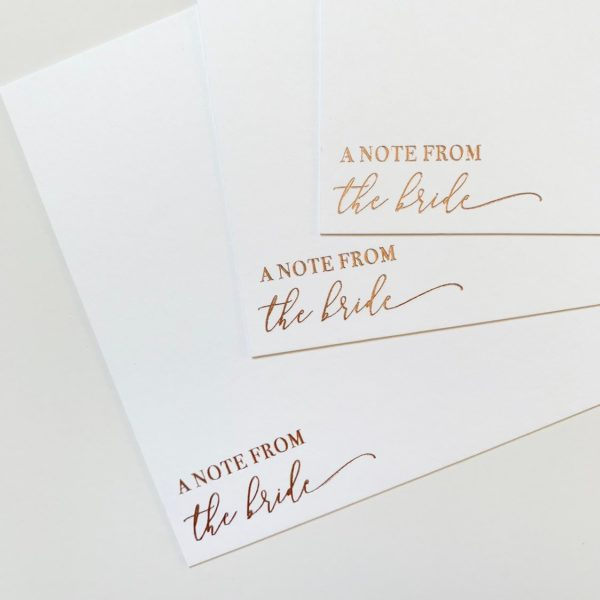 Rose Gold Foil Bridal Thank You Cards