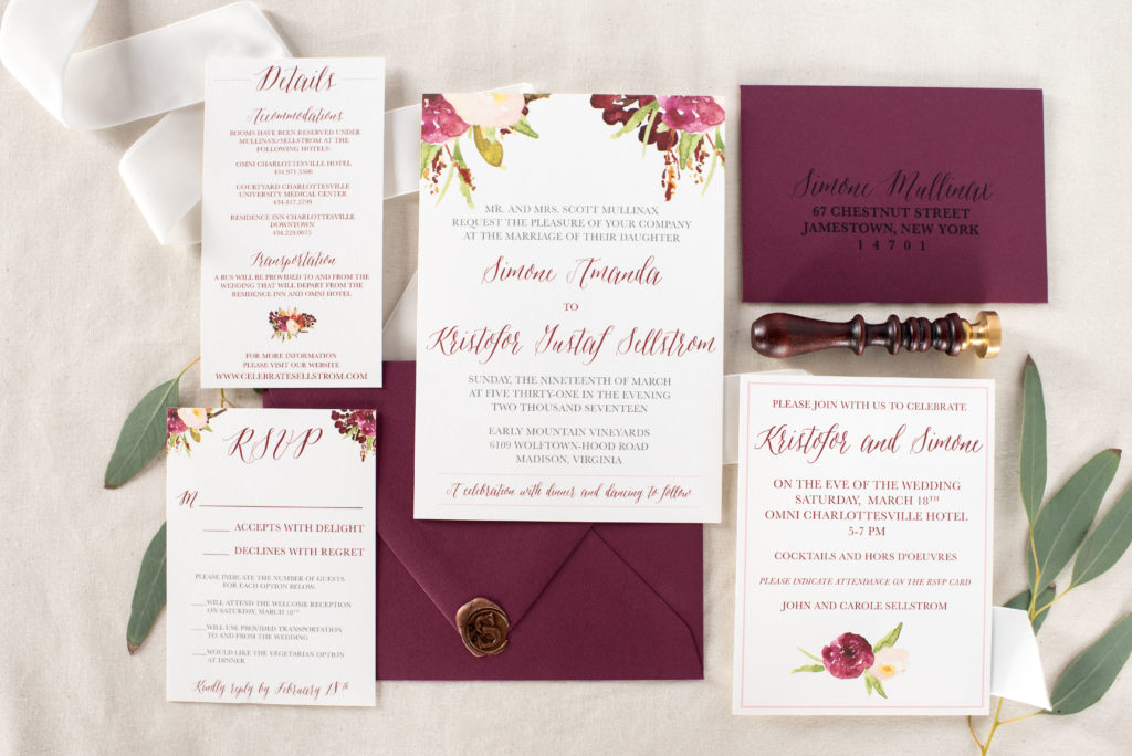 Burgundy Floral Boho Fall Wedding Invitations