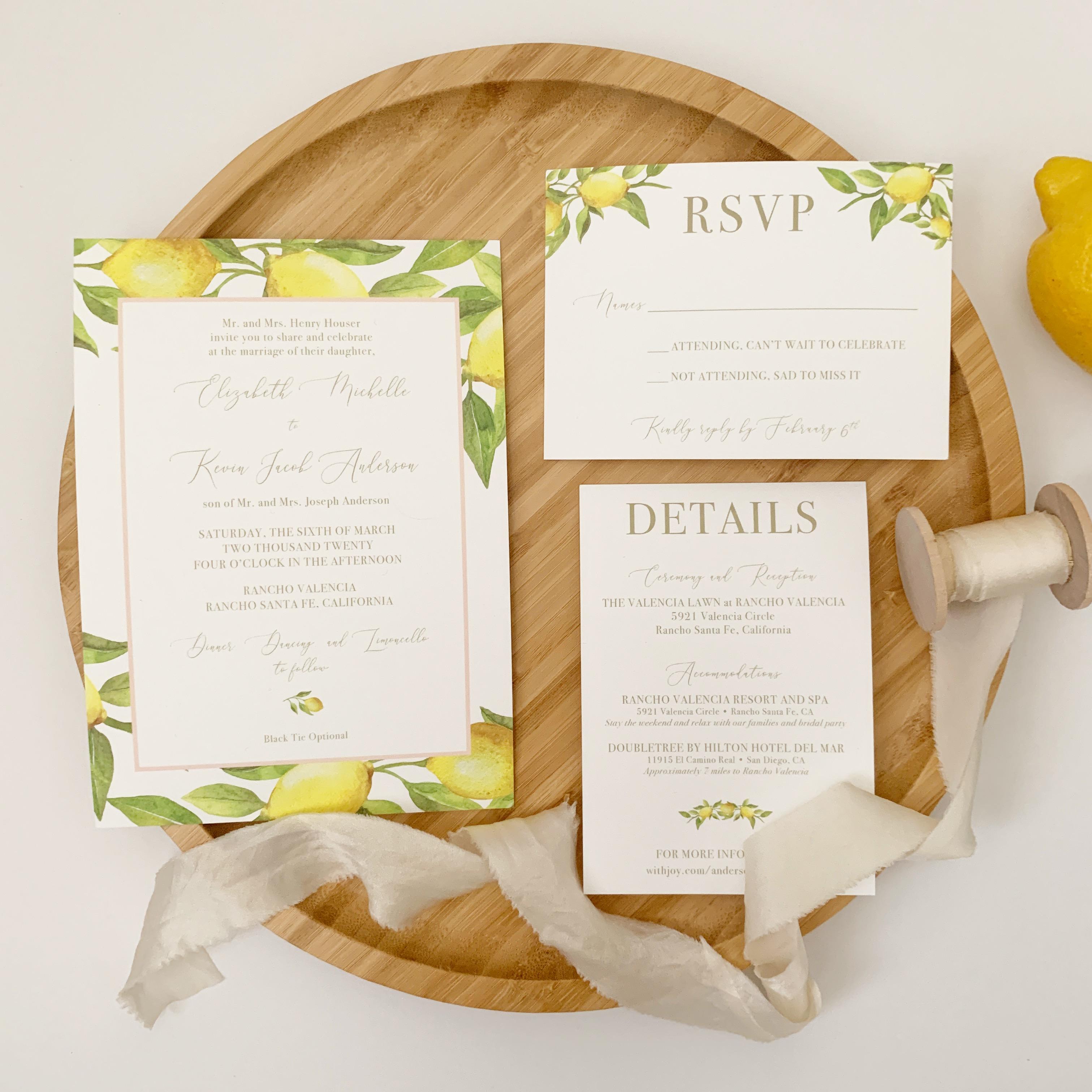 Wedding Invitations Samples: Lemon Wedding Invitation Sample