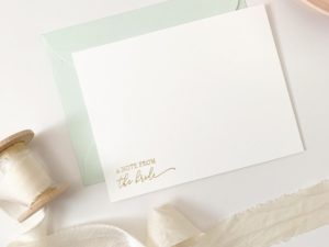 Gold Foil Wedding Notecard