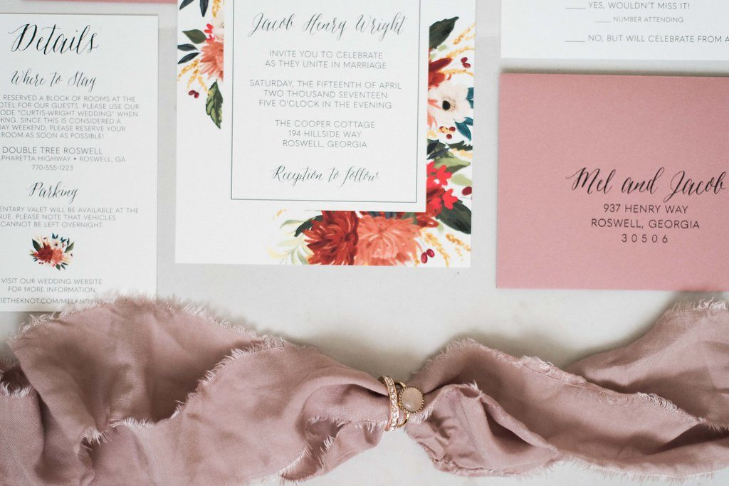 Dusty Rose Floral Boho Wedding Invitations