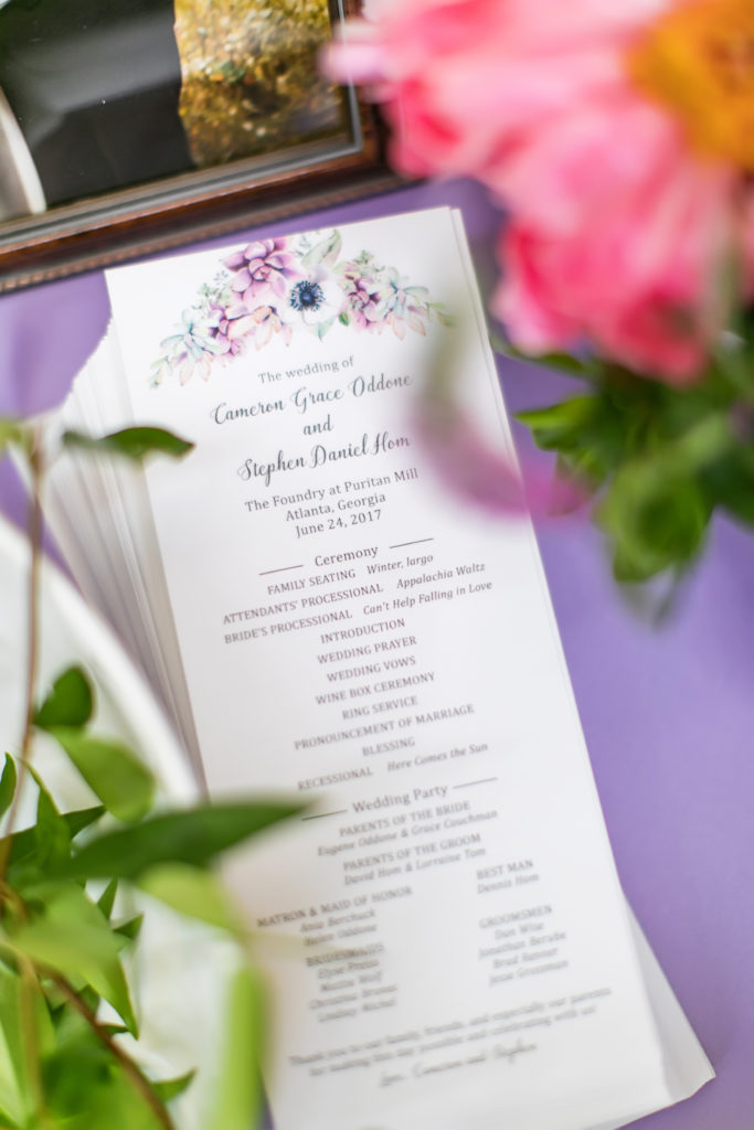 Floral Wedding Ceremony Program