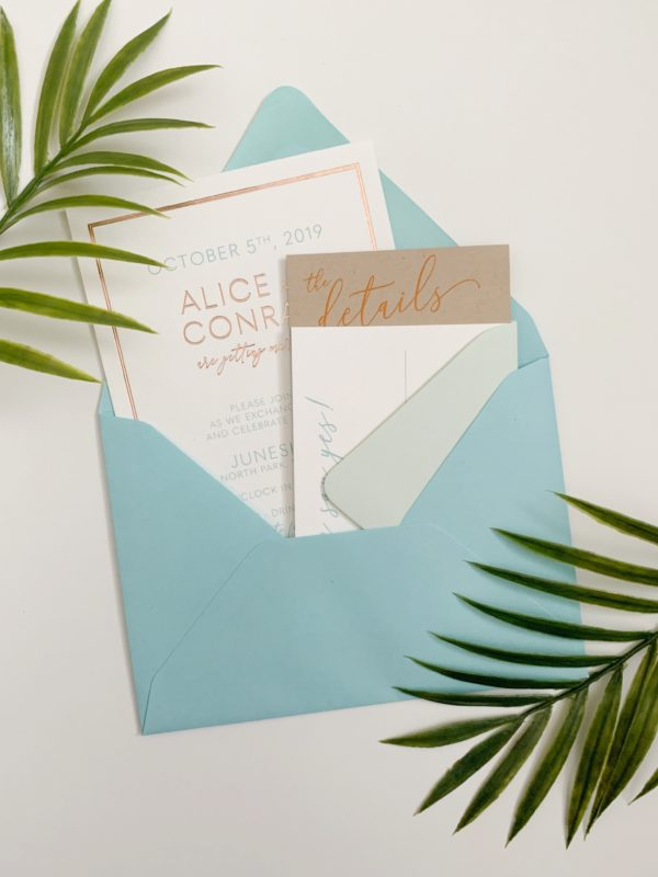 Blue and Rose Gold Wedding Invitation