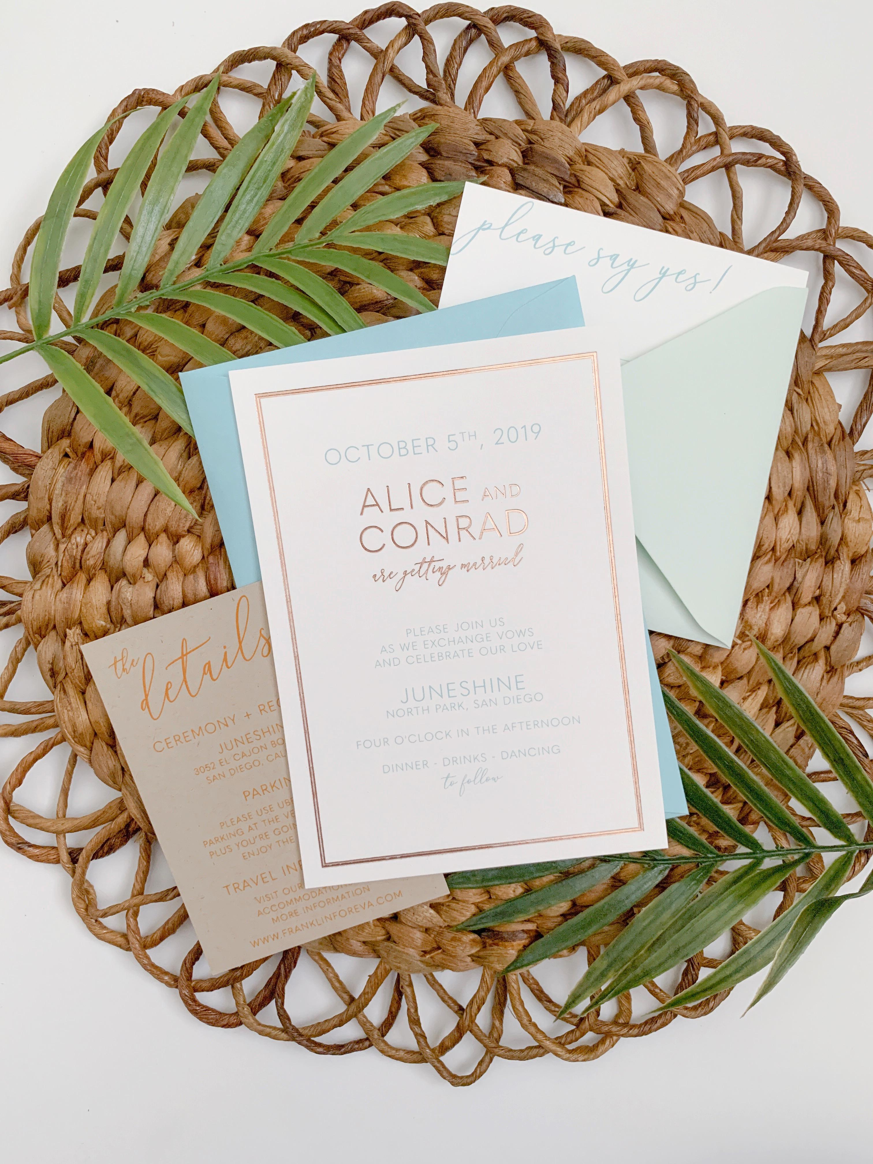 Foil Wedding Invitations.Minimalist Boho California Chic Rose Gold Foil Wedding Invitation