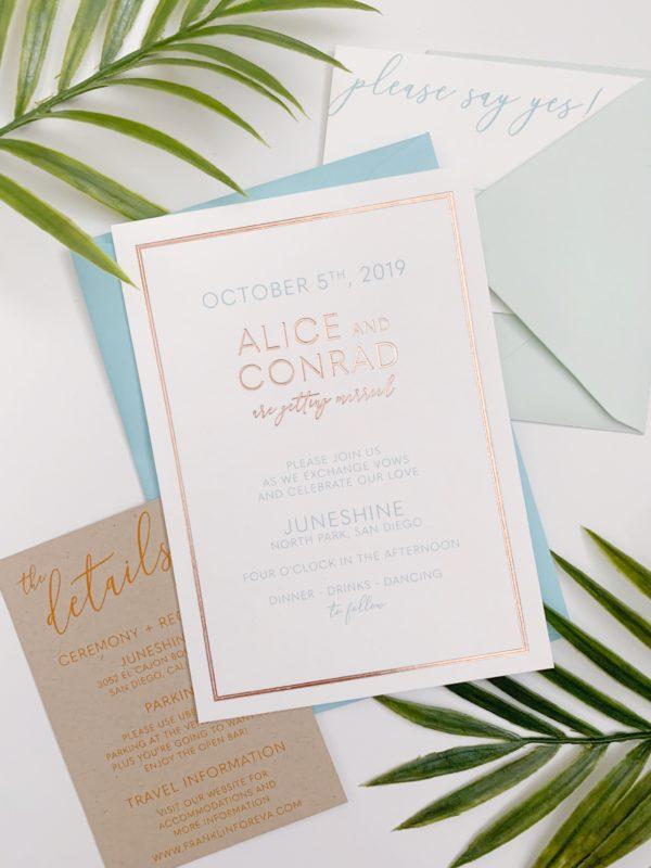 Rose Gold Boho Wedding Invitation