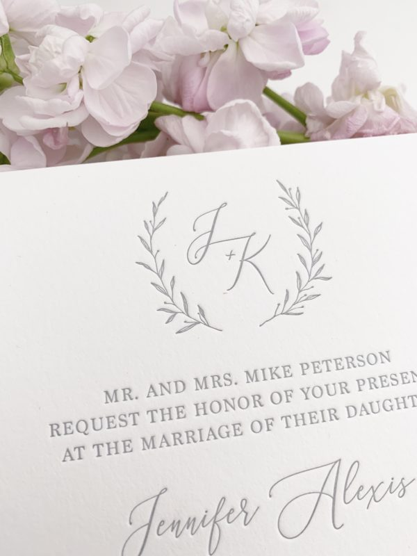 Grey Monogram Wedding Invitations