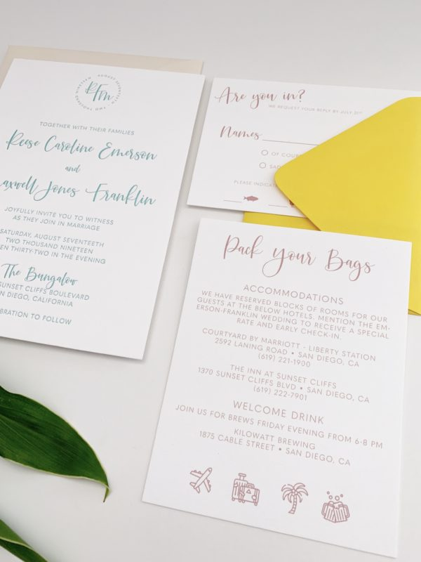 Pack Your Bags Wedding Card