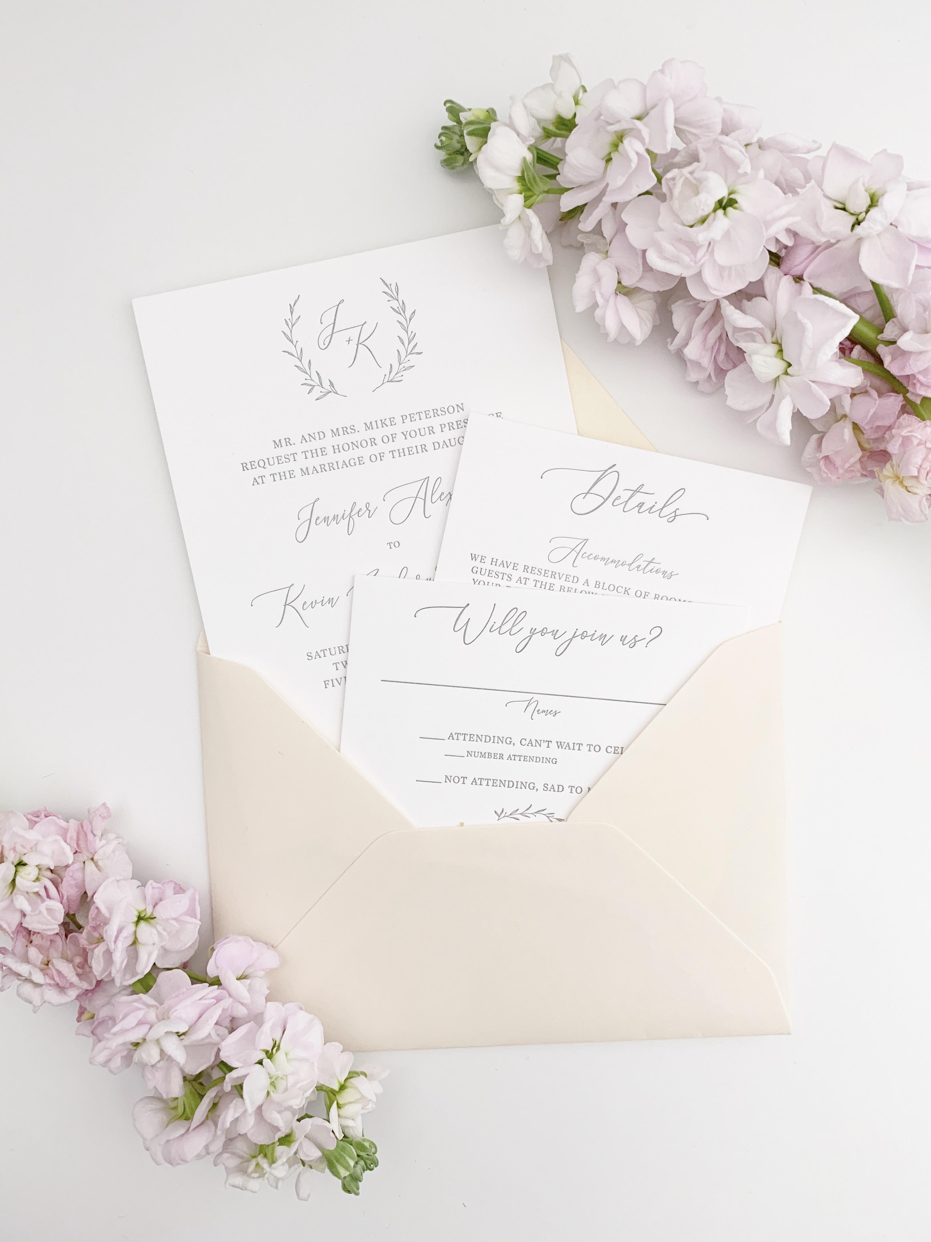 Letterpress Wedding Invitations.Simple Letterpress Wedding Invitation Sample