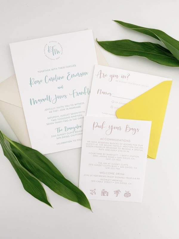 Simple Colorful Wedding Invitations