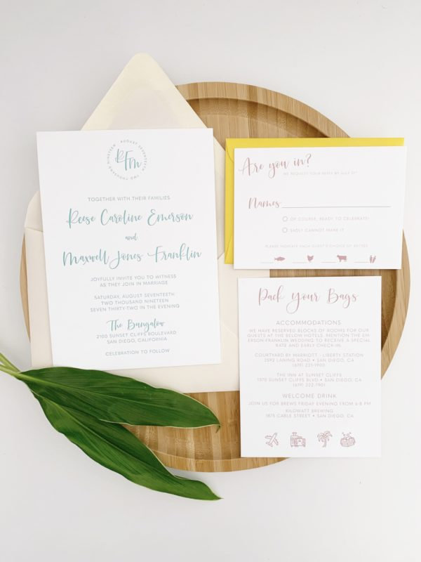 Simple Destination Wedding Invitations